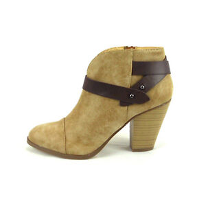 284a32055 Women Ankle Bootie Almond Toe Faux Leather Boot Casual Chunky Heel ...