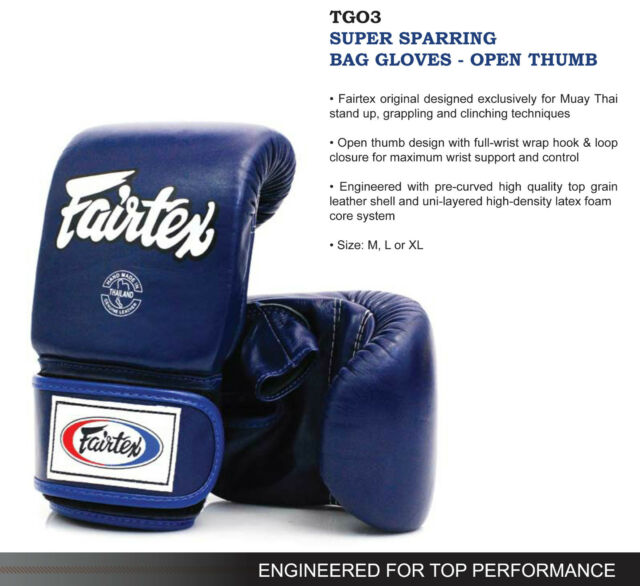 Fairtex Super Sparring Bag Gloves Open Thumb 7 Days Made To Order