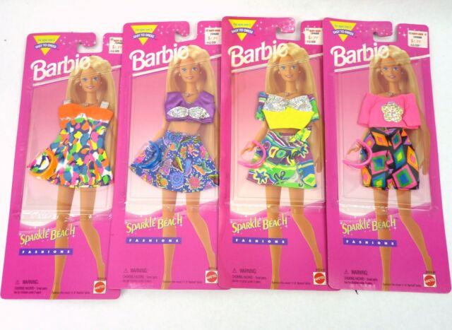 Barbie Sparkle Beach Fashions Sets Lot of 4 NRFP MOC Vintage 90s Bikini Shorts
