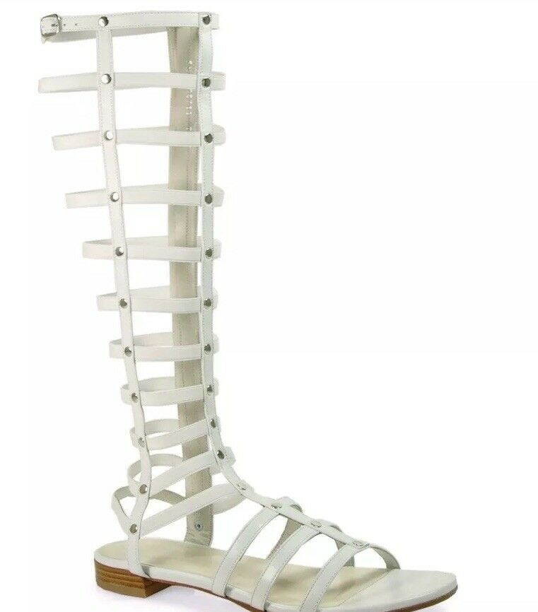 Stuart Weitzman Gladiator White Leather Nappa 6.5 M M M 4b0a0b