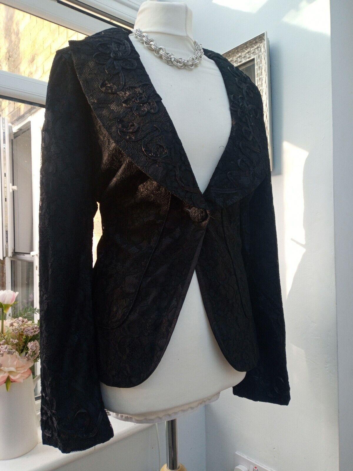 BNWOT M&S Per Una Black Lace Applique Jacket Blazer Size 20 Party's Weddings