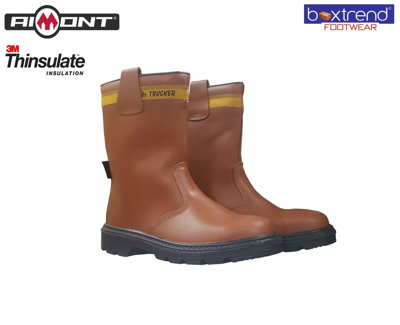 MENS TAN LEATHER WATERPROOF SAFETY RIGGER BOOTS FUR LINED STEEL TOE CAP WINTER