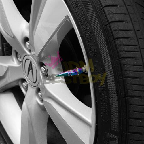 4PCs Neo Chrome Long Spike Valve Stem Caps Metal Thread Set Wheel Tires TVC20