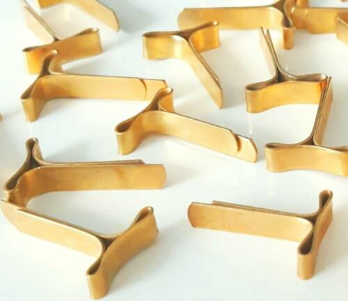 200 Musterbeutelklammern Flachkopf vermessingt 19mm Musterbeutelklammer gold