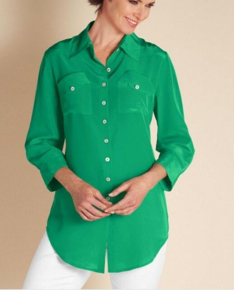 Women's 2X Soft Surrounding Silk Shapely Shirt 10… - image 1