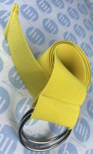Mesdames Femmes élastique Stretch Fashion Ceinture double cercle anneau couleur jaune