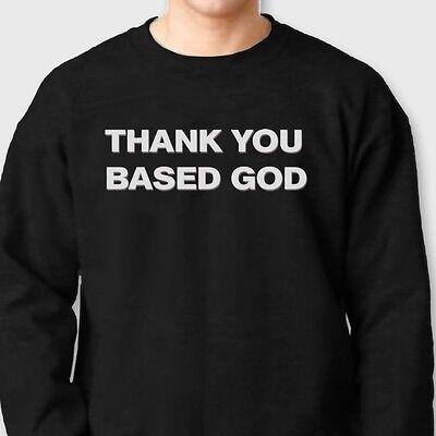 THANK YOU BASED GOD T-shirt Stay Rare Rap LIL B Hip Hop Crew Neck Sweatshirt