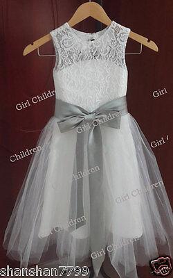 2015 Lace Tulle Sleeves TUTU Flower Girl Dress Wedding Easter Junior Bridesmaid