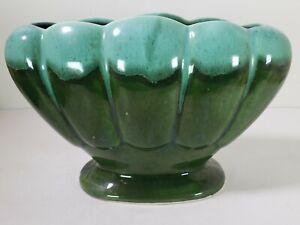 Aborn Planter Green Drip glaze Ceramic Clam Design H-G California Vintage