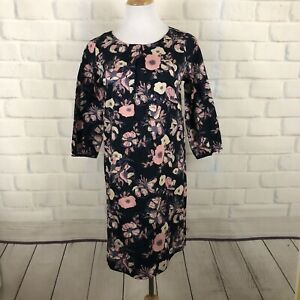 Mata-Traders-Floral-Print-Cotton-Dress-Black-Pink-Size-S