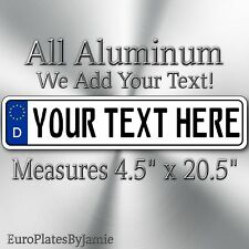EURO STYLE  TAG  european license plate, ANY TEXT, CUSTOMIZABLE, GERMAN