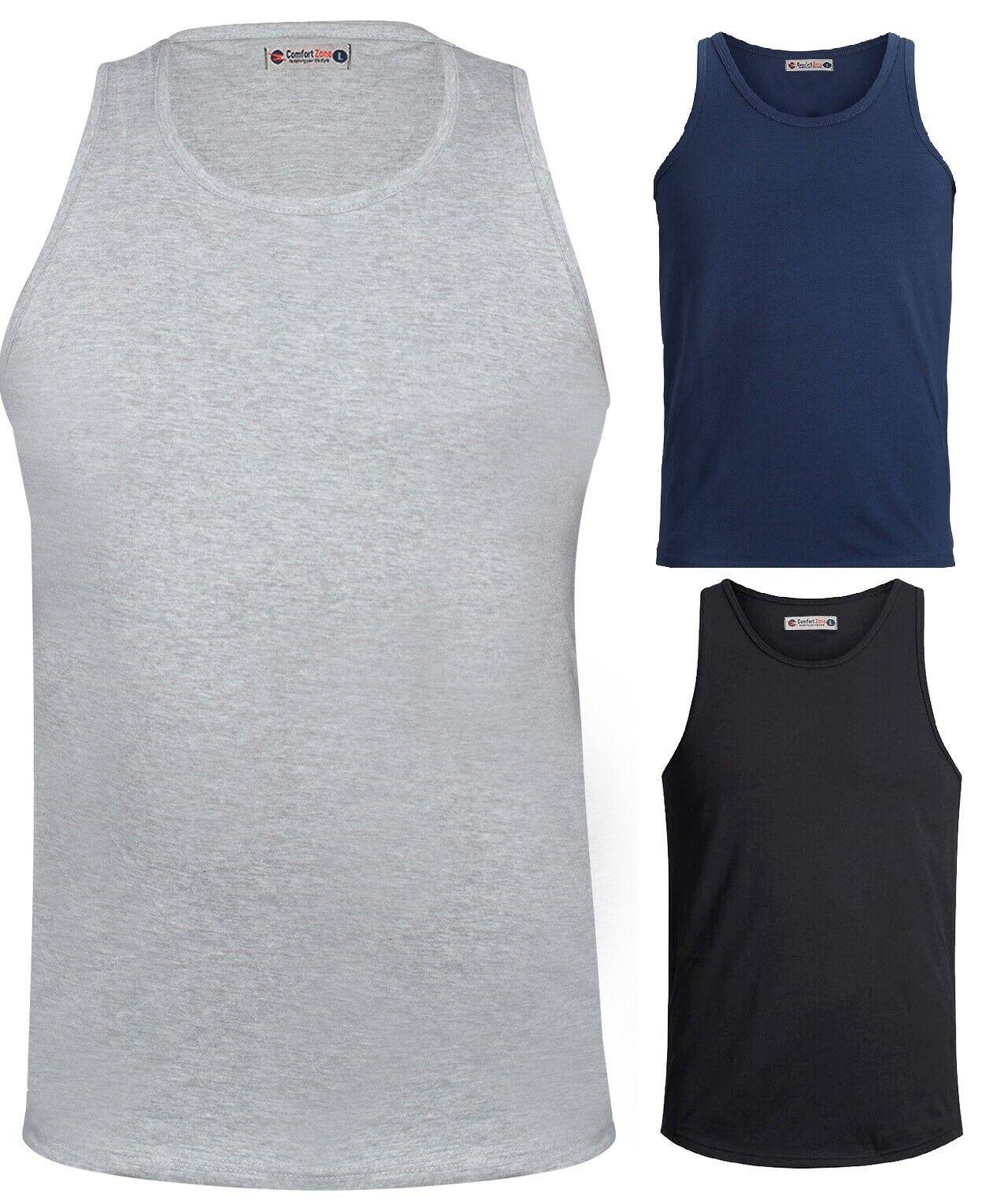 Mens Plain Vest Sleeveless Tank Top Training Gym Rbbed BodyBuilding Vests M-6XL