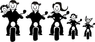 MOTORCYCLE  FAMILY CAR WINDOW DECAL...PICK YOUR SIZE AND COLOR #2