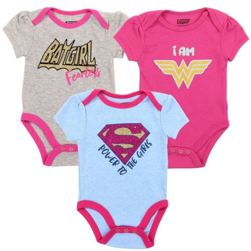 NWT WONDER WOMAN BATGIRL SUPERHERO INFANT BABY 3-PC SET CREEPER JUMPER BODYSUIT