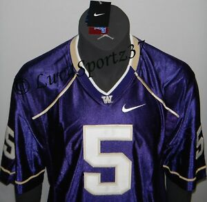 new arrival c9e7c 49882 Details about Washington HUSKIES Football PURPLE Nike SEWN Stitched JERSEY  #5 Baccellia MEN L