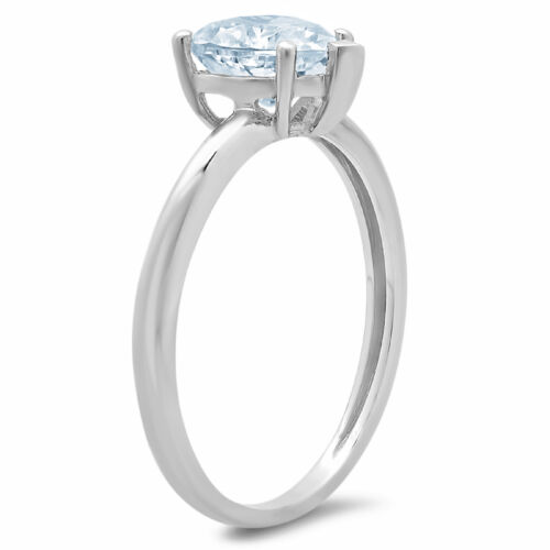 1ct Heart Cut Blue Stone Wedding Bridal Designer Promise Ring 14k White Gold
