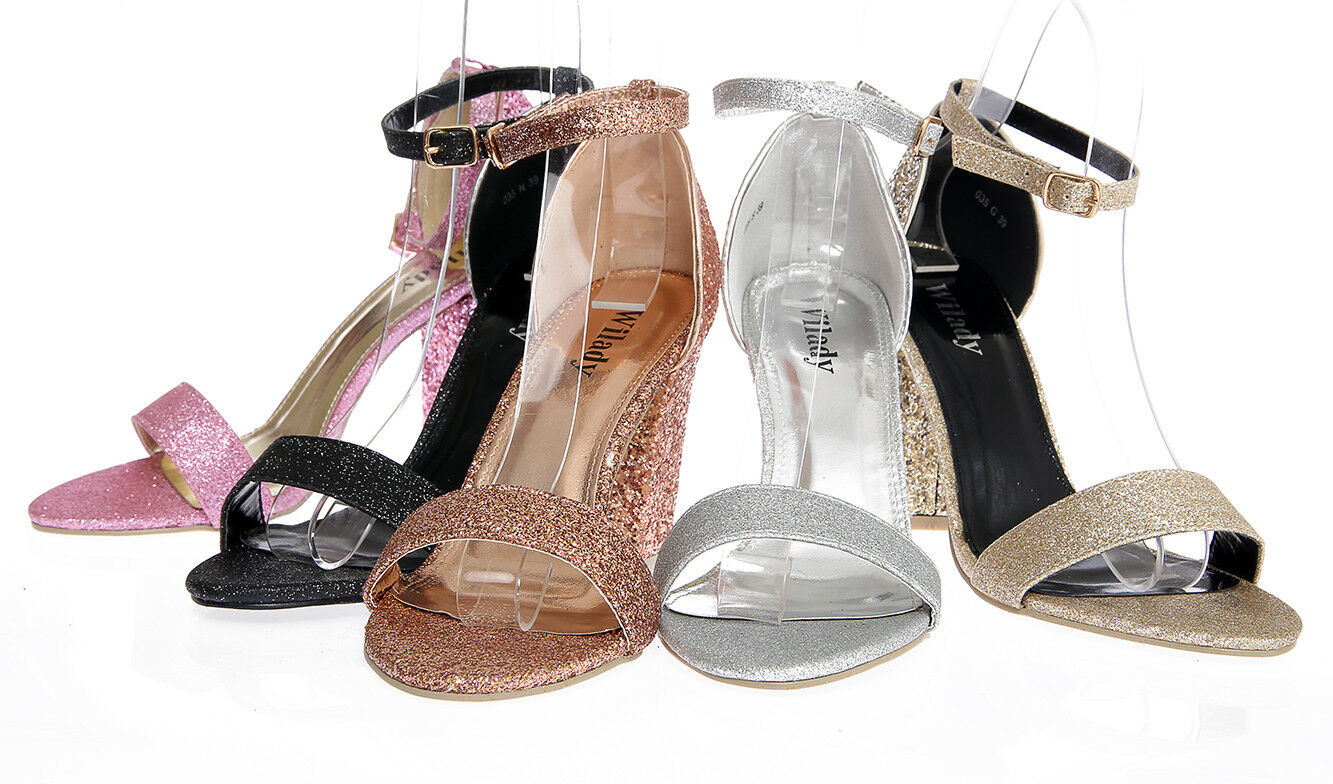 WOMENS BLOCK HEEL ANKLE STRAP SANDALS GLITTER PEEP TOE STRAPPY PARTY SHOES 3-8