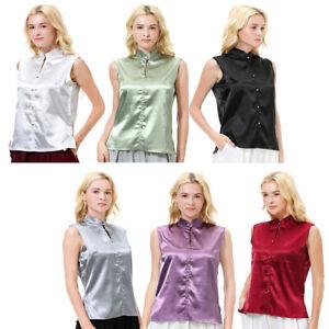 Fashion-Women-Casual-Silk-Satin-T-shirt-Tops-Sleeveless-Short-Blouse-Tank-Vest