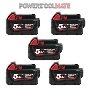Milwaukee-M18B5-Cinq-Pack-18-V-5-0Ah-Li-Ion-Batteries-Authentique