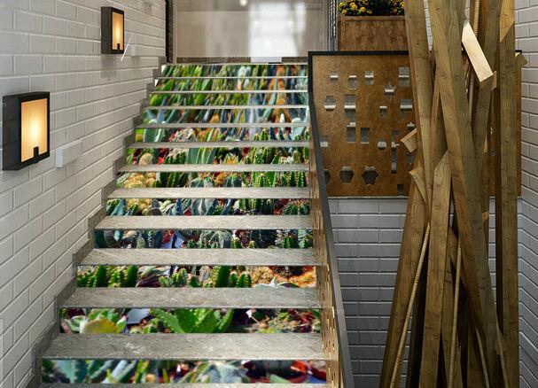 3D Kaktus Pflanze 67Stair Risers Dekoration Fototapete Vinyl Aufkleber Tapete DE