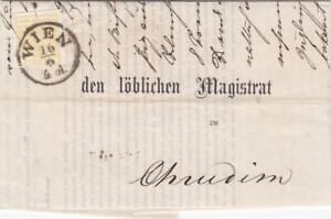 AUSTRIA 1857 ENTIRE WIEN to CHRUDIN with1k IMPERF YELLOW cat £600 on cover