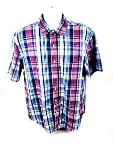 Nautica-Jeans-Co-Mens-XL-Short-Sleeve-Button-Front-MultiColor-Plaid-Shirt