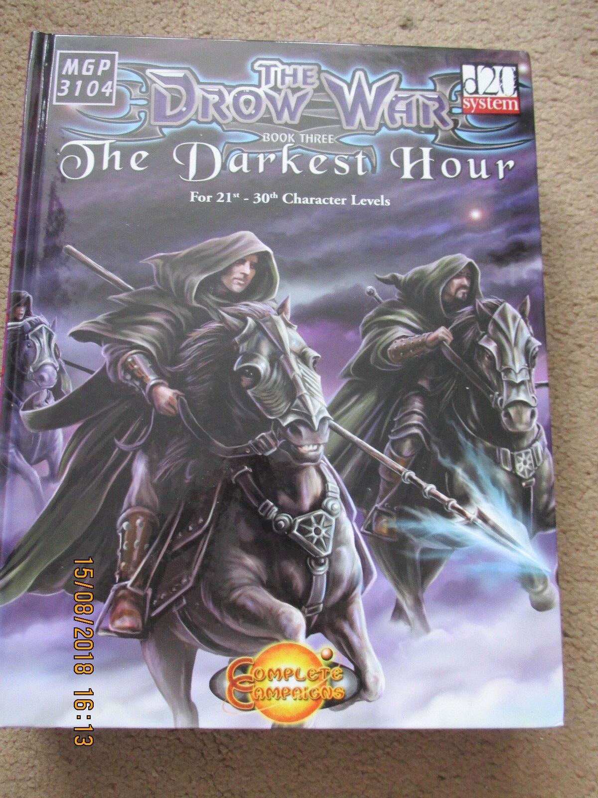 MGP la guerra Drow todos los tres libros de nivel de 1ST a 30TH D20 3E 3.5E D&D HB HC RPG en muy buena condición