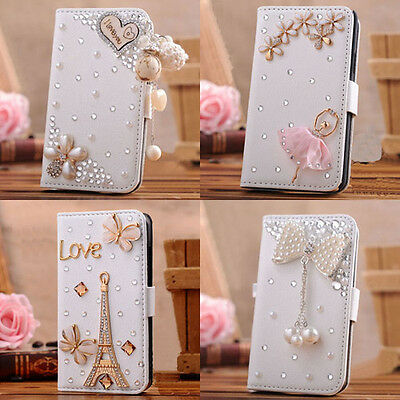 3D Bling Crystal Rhinestone Wallet Leather Purse case For Apple iphone 5c 5s 5 4