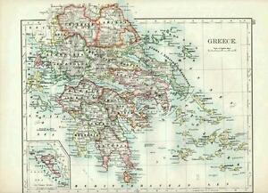 1904 MAP GREECE INSET CORFU MESSENIA LACONIA LARISSA eBay