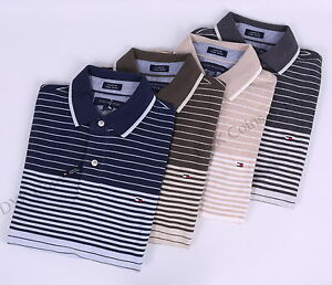 Tommy-Hilfiger-Men-Pique-Stripe-Short-Sleeve-Custom-Fit-Polo-Shirt-0-Free-Ship