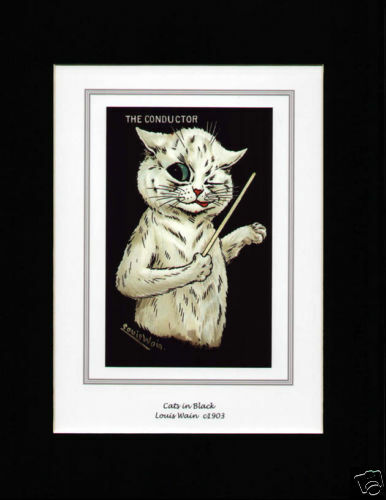 CATS IN BLACK MOUNTED LOUIS WAIN PRINT CONDUCTOR