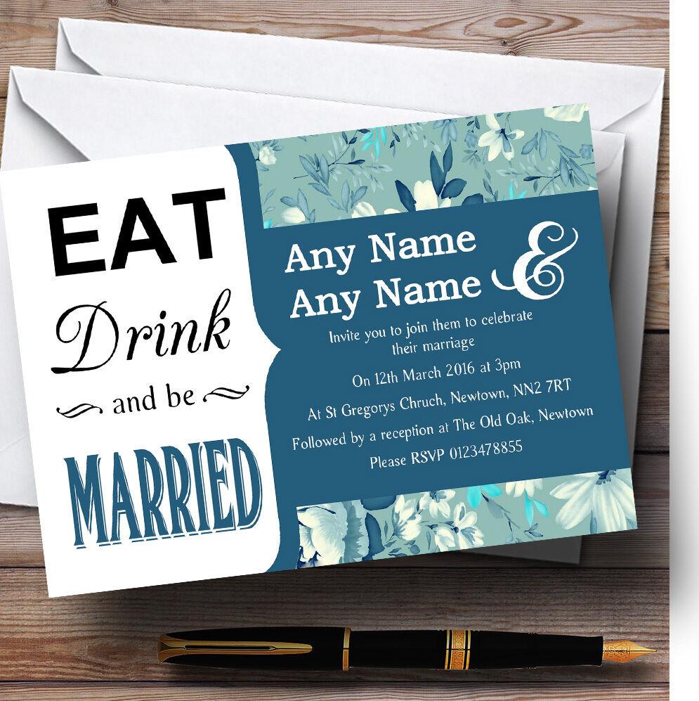 Eat Drink bleu bleu Drink vintage floral mariage invitations personnalisées bafadf