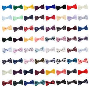 DQT-Homme-Bow-Tie-Solid-Plain-Plaid-Carreaux-a-Motifs-Floral-Paisley-Polka-Dot