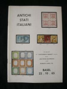 Robson-LOWE-Basilea-asta-catalogo-1965-ANTICHI-STATISTIC-italiani