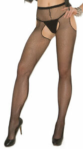 One Size Fits Most Womens Fishnet Suspender Pantyhose, Sexy Fishnet Pantyhose