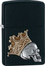 Zippo 29100 skull with crown emblem black matte finish full size Lighter