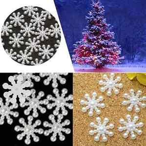 50-100-Snowflake-Flatback-Pearl-Embellishments-Christmas-Craft-Cardmaking
