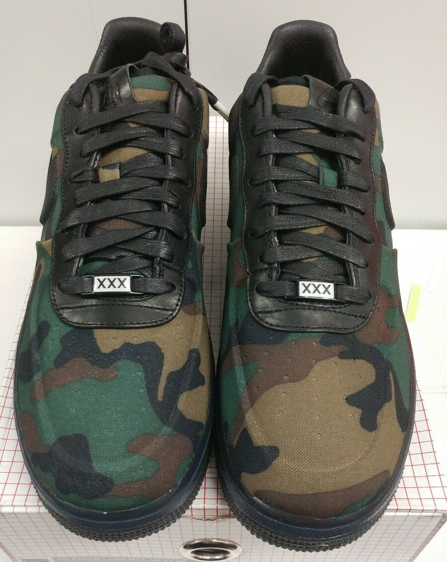 DS NIB Nike AIR FORCE 1 LOW MAX AIR VT QS CAMO Sz 10 BLACK 530989-090