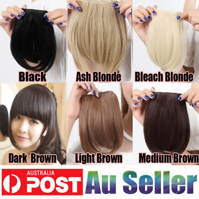 Details about  Clip In on Bangs Fringe Fake Hair Extensions Straight Front Neat Hair as Human