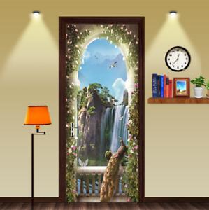 Waterproof-3D-Balcony-Peacock-Waterfall-Self-Adhesive-Door-Wrap-Mural-Sticker