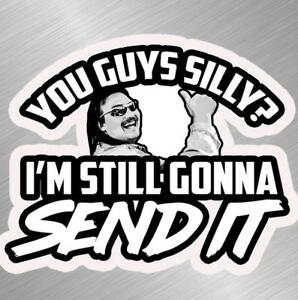 Just Gonna Send It Beer Can Vinyl Decal Sticker Larry Enticer Snowmobile Funny