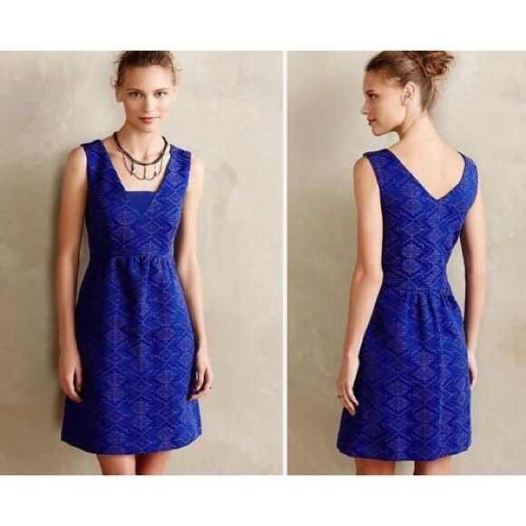 ANTHROPOLOGIE Maeve Averie Dress Blau Jacquard Fit & Flare Sleeveless Sz 4