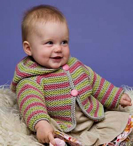 Knitting Pattern 4 sizes Baby//Toddler Hoodie Cardigan PO092
