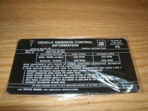 1970 PONTIAC GTO FIREBIRD TRANS-AM 400 4V RAM AIR IV SD ENGINE EMISSIONS DECAL