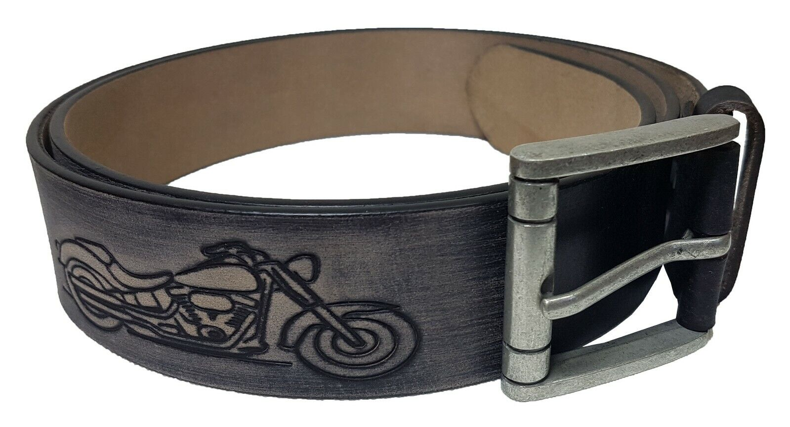 Echt Leder Gürtel Motorrad Harley Schwarz 4,5 cm Breit - Biker
