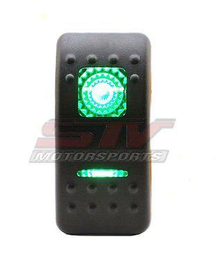 20A 12V Rocker Switch Green 3 position Universal Lights