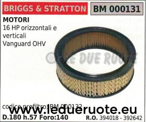 Trou 140 Filtro Ohv Hp 16 394018 aria Briggs 392642 180 Vanguard Stratton Bn1wTq