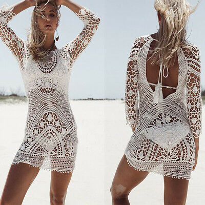 Damen Spitze Häkeln Bikini Cover Up Bademode Badeanzug Summer Strand Kleid JO