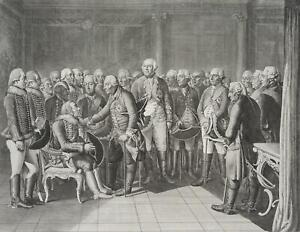 Chodowiecki (1726-1801). Ziethen davanti al suo re seduti; pressione grafico