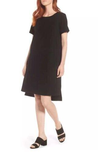 Eileen Fisher schwarz Organic Cotton Stretch Jersey Step Hem K L Dress M NWT